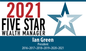 Ian has been identified as a Five Star Wealth Manager five years in a row, most recently in 2021.